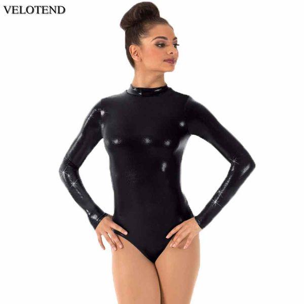 VELOTEND Maillots de manga larga para mujeres Cuello alto Gimnasia Dance Leotardo Body de una pieza Performance Shiny Metallic Bodysuits