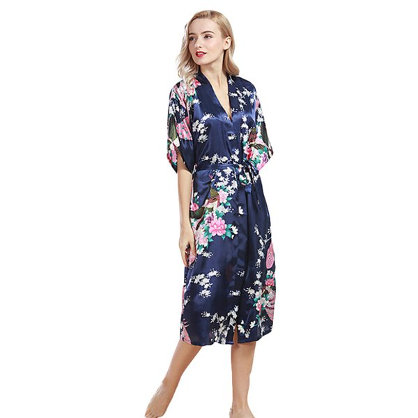 Silk Long print Bride Bridesmaid Morning Robes Bridal Party Gifts Bathrobe Dressing Gowns Women sexy robe femme lingerie YZ612