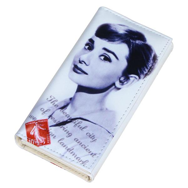Audrey Hepburn Character Women Wallets Lady Purses Handbags Coin Purse Long Clutch Moneybags Blue Wallet Cards Holder Burse Bags