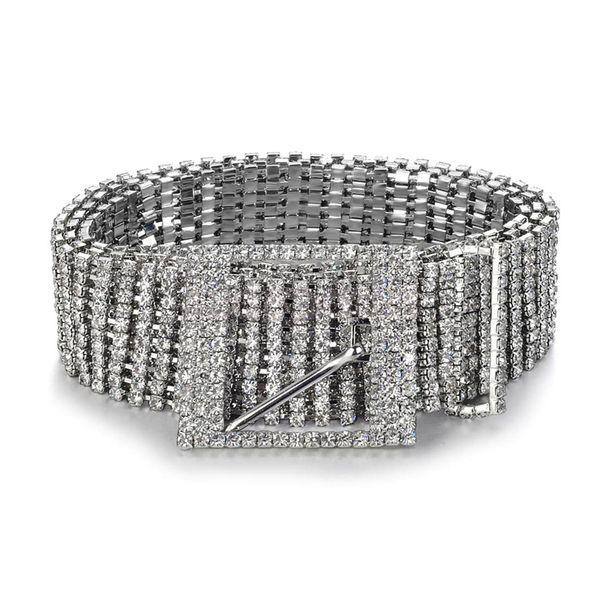 Brand metal chain belts Women Diamante crystal Chain Belt Full Rhinestone bride wide Bling Female Waist Belt S18101806
