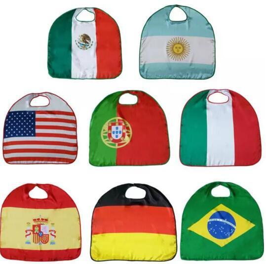 WM Nationalflagge Mantel Kostüm Cape USA Italien Deutschland Flagge Mantel Kleidung für Kinder Polyester Mantel 70 * 70cm