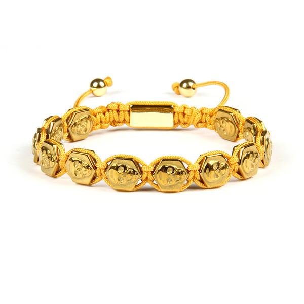 New Design Mens Bracelet 10mmx10mm Hexagon Hematite Stone Skull Skeleton Macrame Bracelets Wholesale 10pcs/lot Drop Shipping