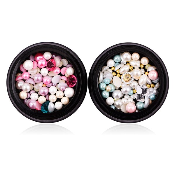 1 Box Mix Colorful Crystal Rhinestones Half Flat Back Pearls Nails Jewelry Beads Diamonds 3D Nail Art Decoration Accessories