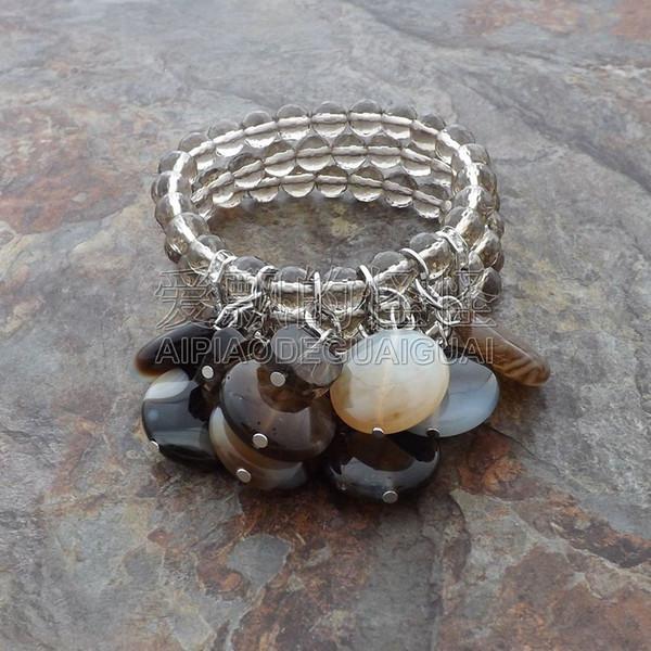B080127 8'' 3 Rows Smoky Crystal Stone Bracelet
