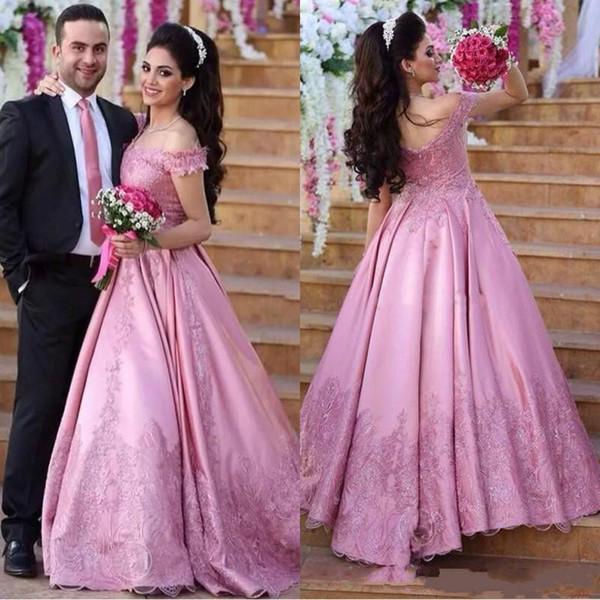 Glamorous Pink Off hombro vestidos de noche más el tamaño de encaje satinado 2018 Dubai Saudi Arab Party baile bola musulmán vestidos de mujer desgaste formal