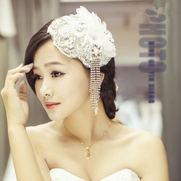 best selling Wedding Accessories 2018 Bridal Hair Accessories Tiaras Headpiece Bridal Hat Tulle Birdcage Feather Flower Classy In Stock