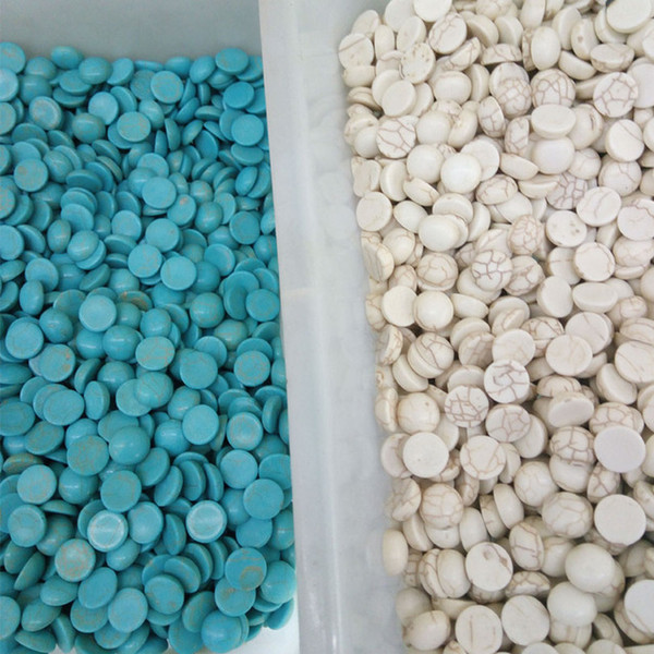 100pcs/lot Natural Stone Turquoise Cabochons Beads Flatback Scrapbooking Domes Cabochon Cameo for Jewelry Making 6/8/10/12/14mmmm