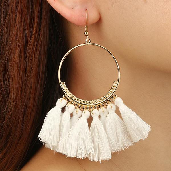 Fashion Creative Tassel Earrings Jewelry Big Ring Earrings Dangle Hook Eardrop Accessories Handmade Ethnic Bohemian Earrings For Women H204F