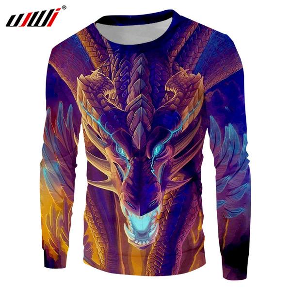 UJWI Fashion Animal Hoodies Crewneck Print Monster Dragon 3d Sweatshirt Men Unisex Long Sleeve Harajuku Casual Sweats Sudadera