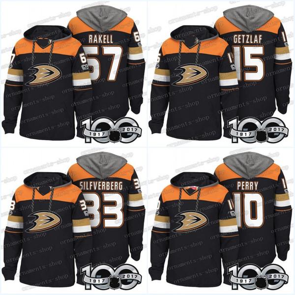 100th Anaheim Ducks Jerseys 67 Rickard Rakell 33 Jakob Silfverberg 17 Ryan Kesler 15 Ryan Getzlaf 10 Corey Perry Chandails à capuchons Sweats