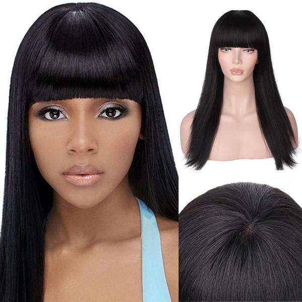 100% sin procesar 2018 remy virginal del pelo humano sedoso flequillo recto largo nuevo color natural aaaaaaa peluca llena del cordón para las mujeres