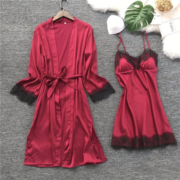 Sexy Silk Night Gown and Robe for Women Solid Satin Robe and Spaghetti Strap Nighties Dress Mini Nighty Set 2 Pieces