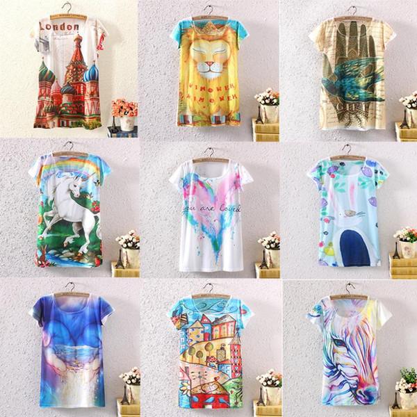new 2014 women t-shirt new summer fashion design 3d print women's clothing wholesale low price free shipping female tshirt