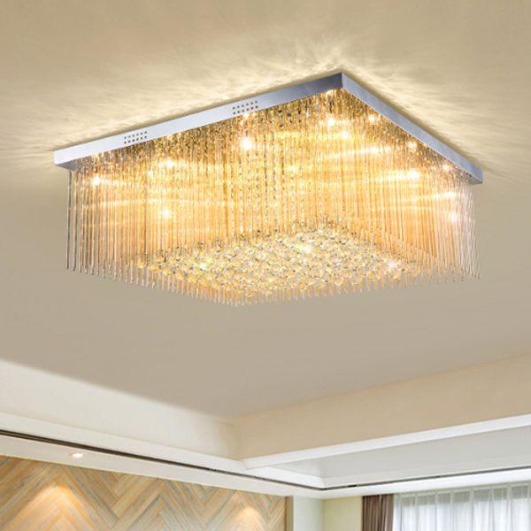 Dimmable crystal chandeliers modern creative royal high end K9 crystal rectangle led ceiling chandelier lighting living room bedroom hotel