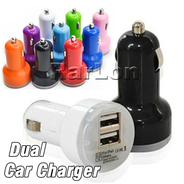 For iPhone X 8 USB Dual Car Charger Input 12-24VDC Output 5V 2A Colorful Mini Cigarette lighter Universal Smart Car Battery Charger