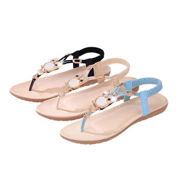 Acheter Strass Hibou Perle Gladiateur Femmes Sandales Chaussures Élastique Bande Clip Toe Chaussures Ethniques Vent Sandales Tongs Tongs Femme