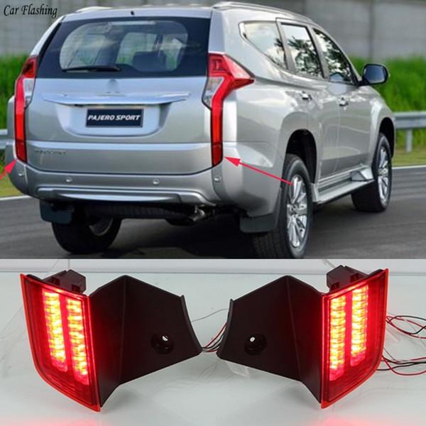 Mitsubishi Pajero Sport 2016 Için 2017 2 adet Çok fonksiyonlu Araba LED Arka Sis Lambası Tampon Işık Oto Ampul Fren Işık Reflektör