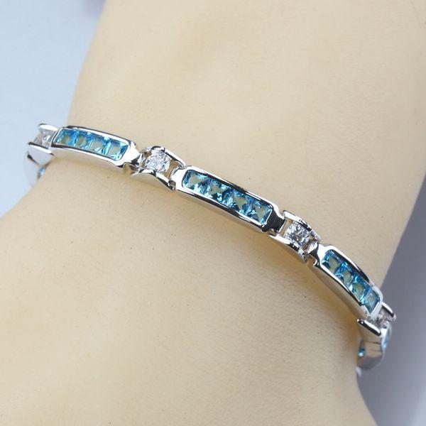 Sevimli 925 Ayar Gümüş Link Zinciri Bileklik Deniz Mavi Zirkon Kadınlar / Kız Takı Moda Sağlık Aksesuarları Handsel Hediye Kutusu