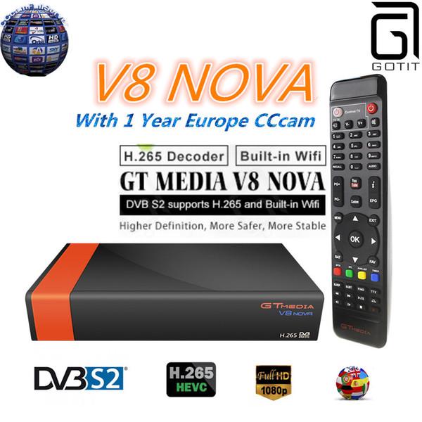GOTiT V8 Nova DVB S2 Freesat Satellite Receiver H 265 Built In WIFI+1Year  Europe Spain Portugal Germany Polish CCcam Set Up Box Home Theatre  Projektor