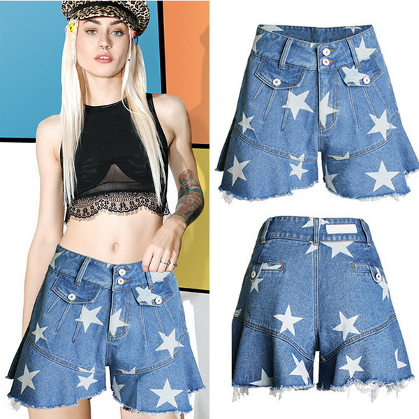 Print Stars Relaxed Fit Short Girls Relaxed Fit Casual Denim Shorts Women