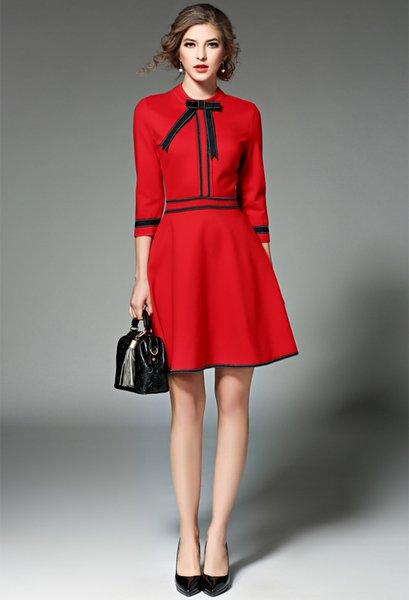 018 Outono costura zíper arco Modelos novos saia curta temperamento moda high-end cor sólida explosão vestido das mulheres gola da cintura A