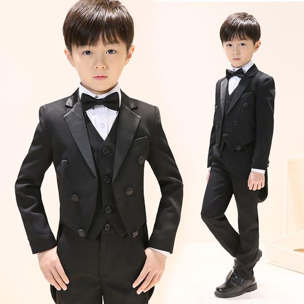 Moderne Farbe Schwarz Kinder Schwanz Mäntel Revers Jungen Schwalbenschwanzmäntel Hochzeit Formale Hochwertige Kinder Tragen Ein Stück Pro Opp Tasche