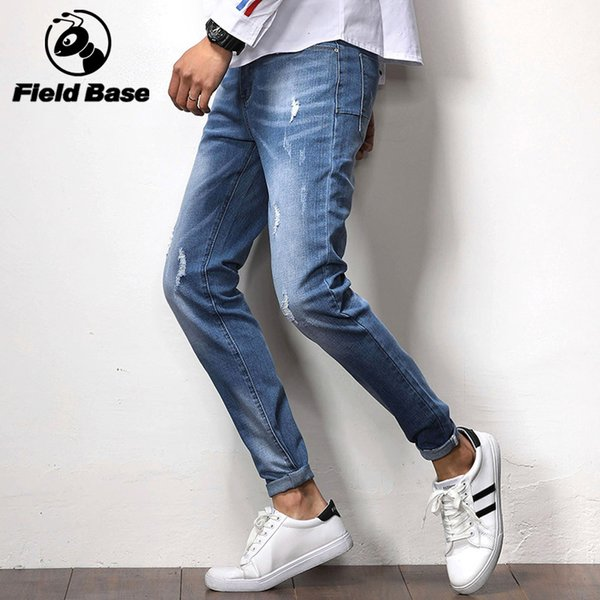 Field Base Skinny Jeans Men Blue Tape Classic Hip Hop Stretch Jeans Hombre Slim Fit Brand Biker Style Tight Taping Male