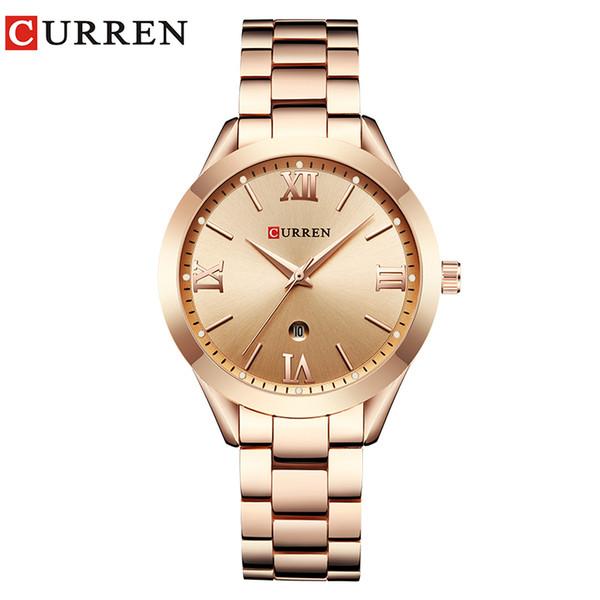 CURREN Reloj de oro para mujer Relojes para mujer 9007 Reloj de pulsera de acero para mujer Reloj femenino Montre Femme
