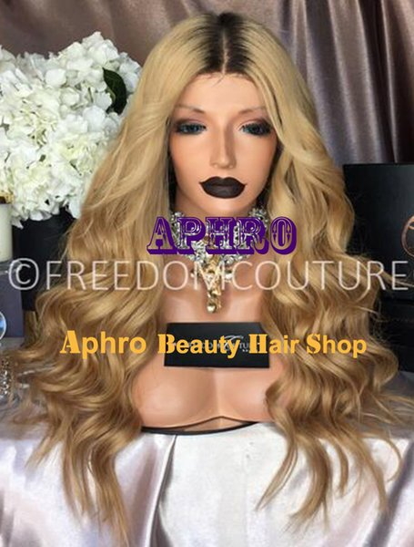 "Luxury Honey Blonde Silk Top Glueless Full Lace Wigs Brazilian Virgin Hair 5""x5"" Silk 20""-30"" 180% Density Dark Roots Blonde Full Lace Wigs"