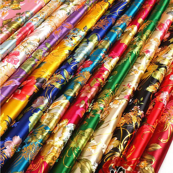top popular Ancient Costume Chinese Baby Clothes Kimono Gold Silk Peony Fabrics Cloth COS Dress Satin Fabric Width:75cm 2019