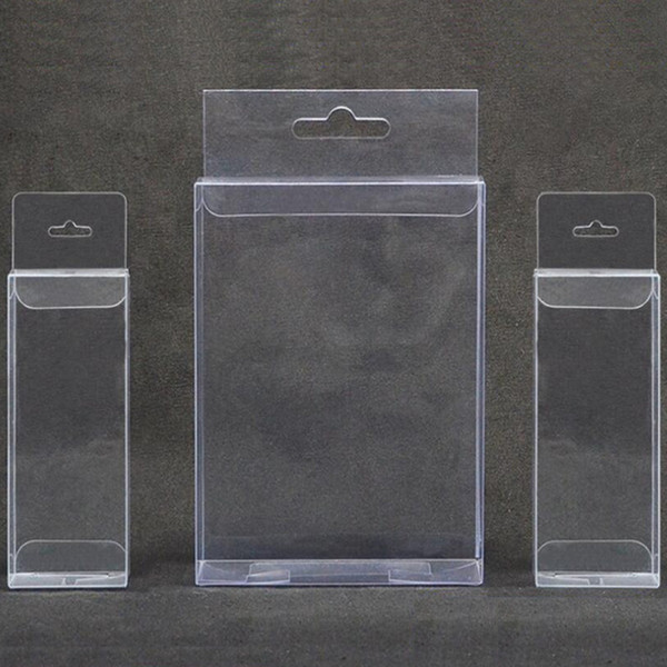 10pcs Clear plastic gift box with hang hole Small pvc transparent packaging box for jewellery/toys Wedding favors candy box
