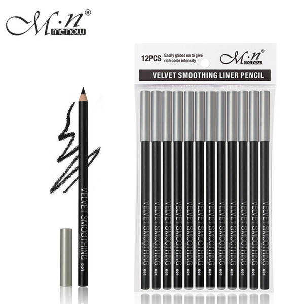12pcs/set M.n Menow Eyeliner Pencil Waterproof Eyebrow Beauty Pen Eye liner Pencil all black P127 DHL 48Set