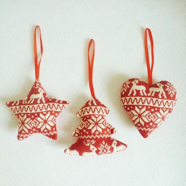 1 Stück Weihnachtsbaum Ornamente Leinen Rotes Herz Baum Stern Wohnkultur Frohe Weihnachten Ornament Dekoration L50