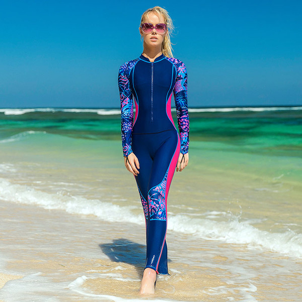 2018 Women Lycra Wetsuit Quick-dry One Piece Surfing Spearfishing Swimsuits Jumpsuit Padded Scuba Diving Triathlon Wet Suit Drop Shipping J