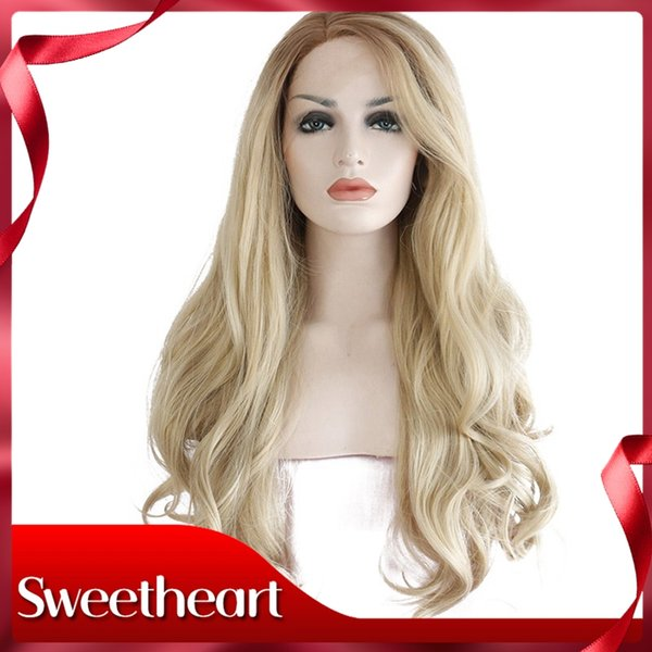 Sweetheart High Temperature 8/613# Brown Ombre Blond Long Body Wave Hair Glueless Synthetic Lace Front Wigs For Women Cosplay Free Shipping