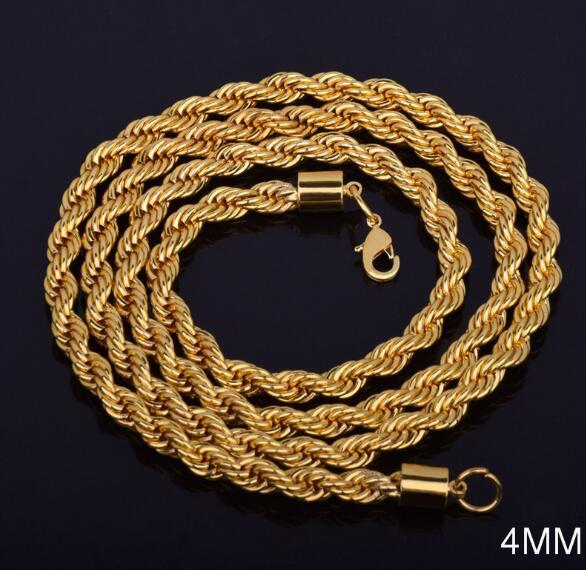 4 mm*16-30 inch Twist chain plated 18k gold necklace fashion personality sautoir Man/woman gold couples necklace Fit Pendant