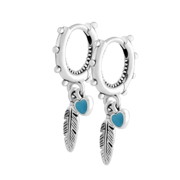 2018 Summer 925 Sterling Silver Spiritual Feathers Dangle Pandora Earrings For Women Original Jewelry Making Anniversary Gift Wholesale