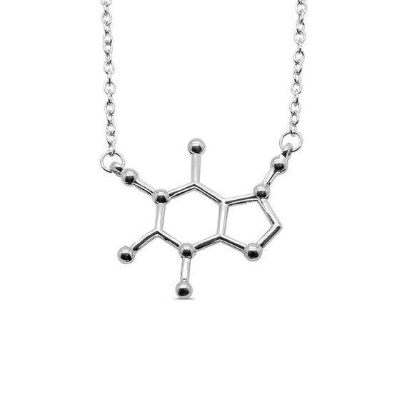 10pcs Coffee Molecule geometric pendant Necklace Chemical Molecules Necklace Science Structure Chemistry Necklaces for Nurse Jewelry