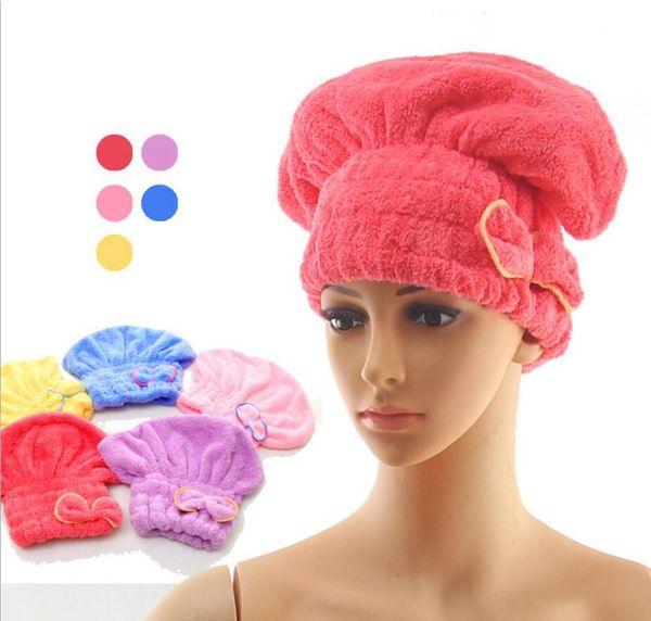 5colors Shower bath caps bow Elastic Wrapped Towels cute fashion spa hat Hair Hat Bath Supplies FFA937 120PCS