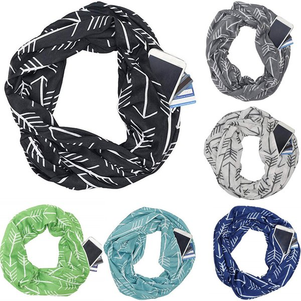 2018 neue Cabrio Infinity Schal Frauen geometrischen Druck Pocket Zipper Pocket Schals Winter warm Schal Latz Schals Geschenk