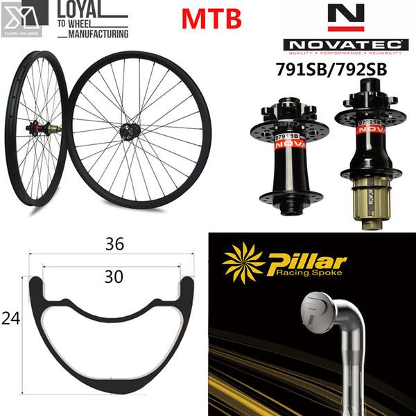 29er MTB Carbon Wheel 36*24mm Tubeless RIm For XC / AM Mountain Bike Wheelset Novatec D791SB D792SB 6-Bolt QR or Boost