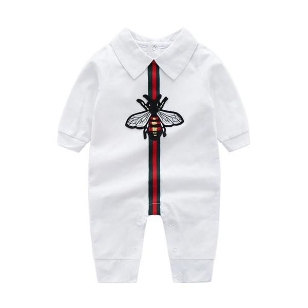 barboteuse en coton 2019 INS printemps nouveaux enfants bébé escalade haute qualité coton manches longues col rabattu bande dessinée abeille barboteuse 2 couleurs