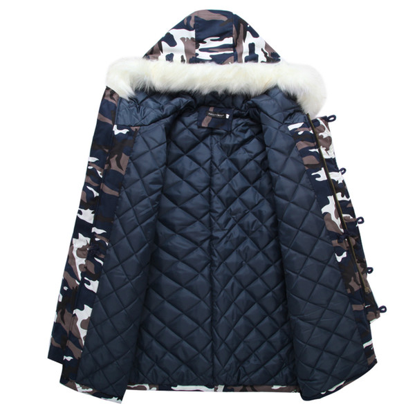 Brand New Winter Men Thick Camouflage Jacket Men Parka coat Male Hooded Parkas Jacket Men Military Overcoat With Fur Plus Size 5XL