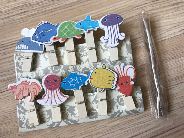 30pcs Ocean Animals Photo Wood Clips,Paper Wooden Pegs with Hemp Rope,Pin Clothespin Craft for Beach Party Gift Favor Decoration