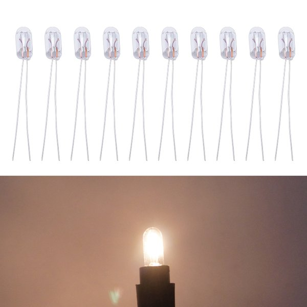 10pcs/box Warm White/Amber Car T5 12V 1.2W Halogen Bulb External Halogen Lamp Replacement Dashboard Bulb Light #2698