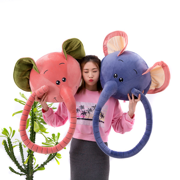 New Cute Elephant Head with Long Nose Plush Toy Big Kawaii Animals Elephant Stuffed Doll Pillow for Baby Gift 45x45cm DY50281
