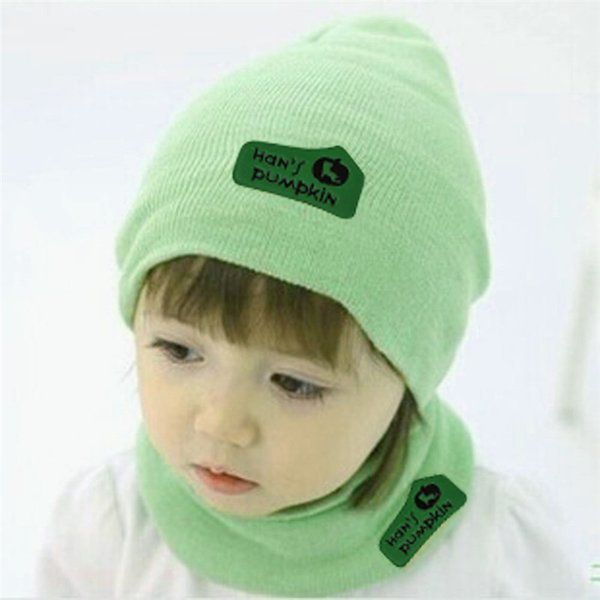 Children Hedging Crochet Hat Solid Color Candy Colored Winter Warm Knit Hats Newsboy Caps with Scarf