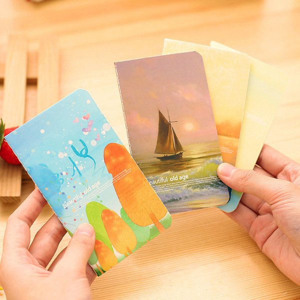 Free ship!1lot=40pc!Sea series binding Diary book / cartoon small mini cartoon paper notebook/Writing pads/student stationery