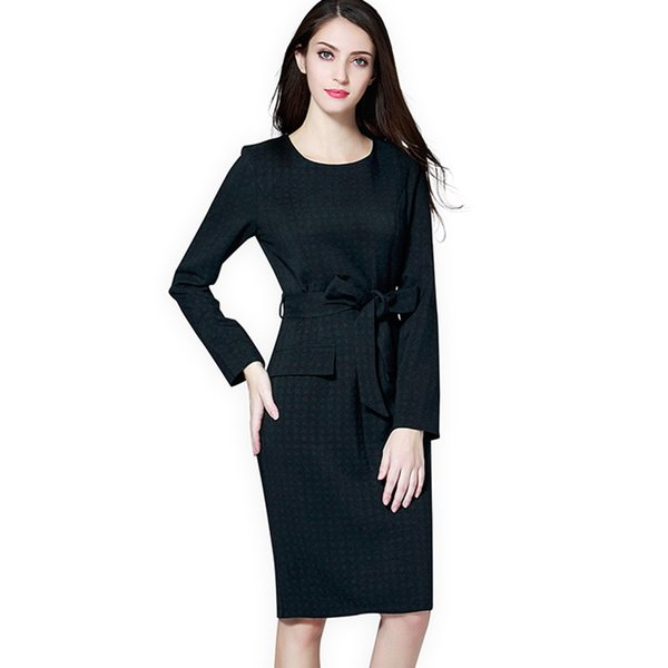 Women Office Lady Plus Size Dress Autumn Winter Bodycon Round Neck Pullover  Plain Pleated Lace Up Belt Bowknot Oversize Dress Chiffon Dress Online ...