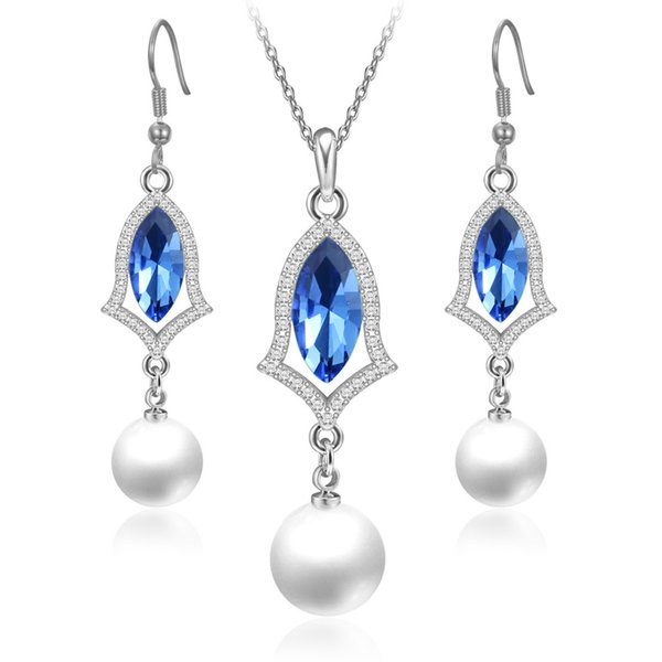 Heat Necklace And Earrings Fashion Female Sex Ornaments Plating White In Paradise Pearl Jewelry Suit Multicolor